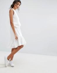J.O.A Skirt With Asymmetric Hem And Peplum Layers - White