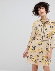 J.O.A Tea Dress With Neck Tie In Vintage Floral - Cream