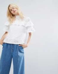 J.O.A Tiered Top With High Neck In Broderie Lace - White
