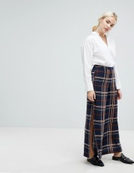 J.O.A Wide Leg Trousers With Side Split In Large Check - Navy