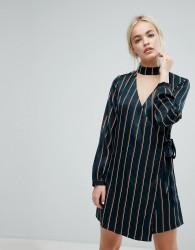 J.O.A Wrap Front Dress With Choker Neck In Satin Fine Stripe - Cream