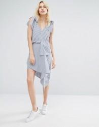 J.O.A Wrap Front High Low Mini Skirt In Fine Stripe - Blue