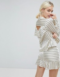 J.O.A Wrap Front Tailored Shirt In Satin Formal Stripe Co-Ord - Cream