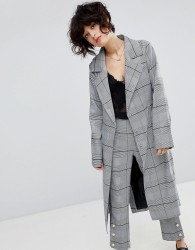 J.O.A Wrap Mac Jacket In Suit Check Co-Ord - Grey