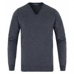 John Smedley Bobby Extra Fine Merino V-Neck Pullover Charcoal