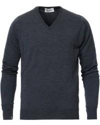John Smedley Bobby Extra Fine Merino V-Neck Pullover Charcoal men XL Grå