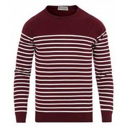 John Smedley Redfree Sea Island Cotton Stripe Sweater Burgundy Grain/W