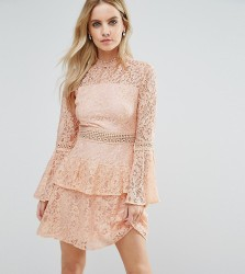 John Zack Petite All Over Premium Lace Top Tiered Prom Mini Dress - Pink