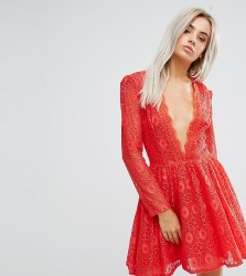 John Zack Petite Allover Geo Lace Full Prom Skater Dress With Plunge Front - Red