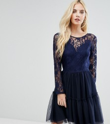 John Zack Petite Allover Lace Top Mini Prom Tulle Prom Dress With Scallop Back - Navy