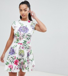 John Zack Petite Allover Printed Mini Prom Dress - Multi