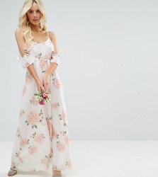 John Zack Petite Allover Rose Floral Cold Shoulder Maxi Dress - Multi