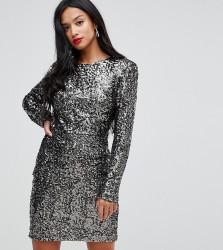John Zack Petite Allover Sequin Shift Dress - Silver
