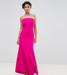 John Zack Petite Bandeau Fishtail Maxi Dress - Pink