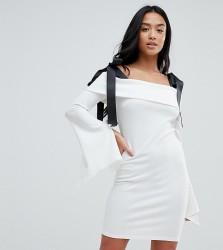 John Zack Petite Bardot Mini Dress With Tie Shoulder Detail - White