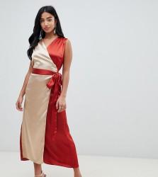 John Zack Petite contrast midi wrap dress - Multi