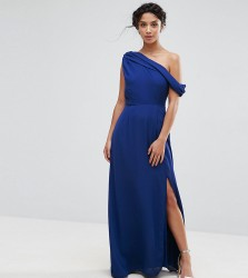 John Zack Petite Drapey One Shoulder Maxi Dress - Blue