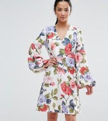 John Zack Petite Floral Mini Dress With Blouson Sleeve - Multi
