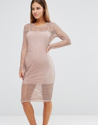 John Zack Petite Grid Mesh Cap Sleeve Bodycon Dress - Pink