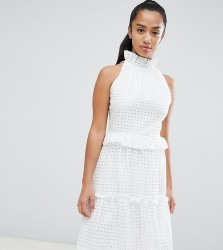 John Zack Petite High Cutwork Lace Layered Skater Dress - White