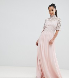 John Zack Petite High Neck Cutwork Lace Top Maxi Dress - Pink