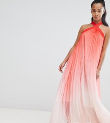 John Zack Petite High Neck Pleated Maxi Dress - Pink