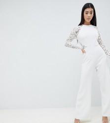 John Zack Petite Lace Sleeve Jumpsuit - White