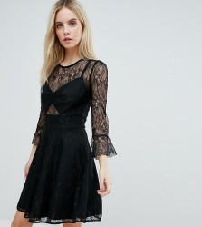 John Zack Petite Lace Top Prom Skater Dress With Bra Top Detail - Black