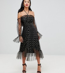 John Zack Petite Long Sleeve Cold Shoulder Metallic Star Print Midi Dress With Thigh Split - Black