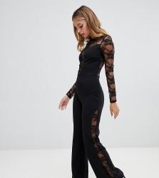 John Zack Petite long sleeve jumpsuit with lace insert in black - Black