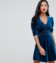 John Zack Petite Mini Ruched Skater Dress In Allover Velvet - Blue
