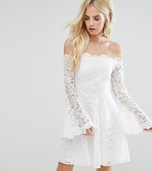 John Zack Petite Off Shoulder Contrast Allover Lace Mini Dress With Fluted Sleeve Detail - Cream