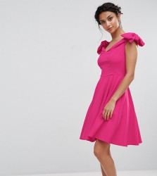 John Zack Petite Off Shoulder Mini Dress With Bow Sleeve Detail - Pink