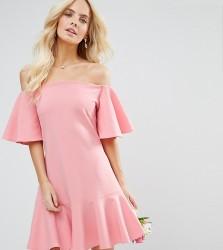John Zack Petite Off Shoulder Mini Dress With Fluted Sleeve And Hem Detail - Pink