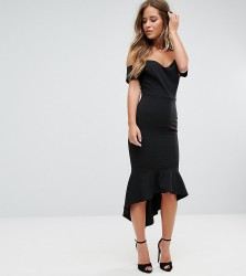 John Zack Petite Off Shoulder Ruffle Midi Dress - Black