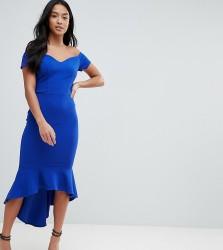 John Zack Petite Off Shoulder Ruffle Midi Dress - Blue