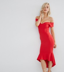 John Zack Petite Off Shoulder Ruffle Midi Dress - Red