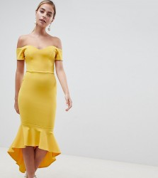 John Zack Petite Off Shoulder Ruffle Midi Dress - Yellow