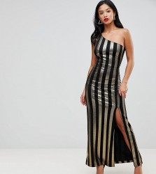 John Zack Petite One Shoulder Contrast Stripe Maxi Dress - Multi