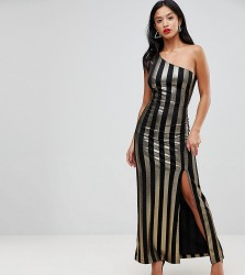 John Zack Petite One Shoulder Contrast Stripe Maxi Dress - Multi