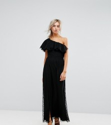John Zack Petite One Shoulder Maxi Dress In Dotty Mesh - Black