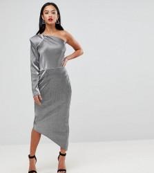 John Zack Petite One Shoulder Metallic Pencil Dress - Silver