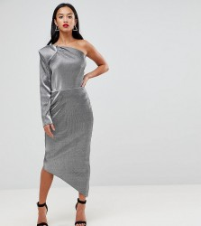 John Zack Petite One Shoulder Metallic Pencil Dress - Silver