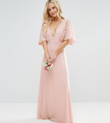 John Zack Petite Open Back Maxi Dress With Fluted Lace Sleeve - Pink