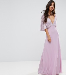 John Zack Petite Open Back Maxi Dress With Fluted Lace Sleeve - Purple