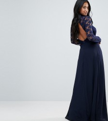John Zack Petite Over Lace Top Maxi Dress With Open Back - Navy