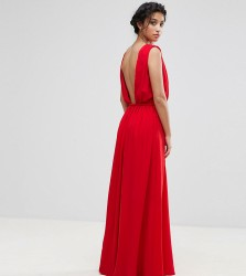 John Zack Petite Plunge Back Maxi Dress - Red
