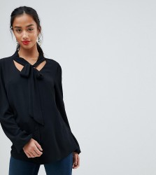 John Zack Petite Plunge Front Blouse With Neck Tie - Black