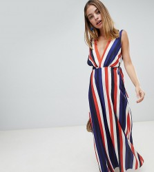 John Zack Petite plunge front maxi dress in stripe print - Multi