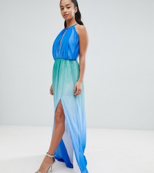 John Zack Petite Plunge Front Maxi With High Thigh Split - Blue
